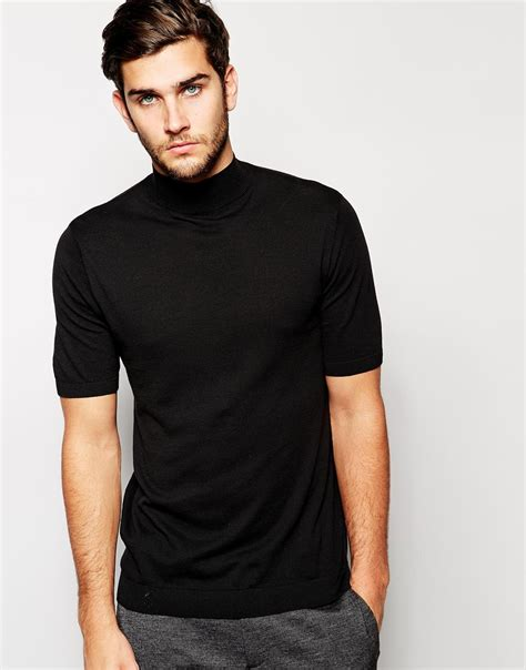 ASOS Knitted T-shirt With Turtleneck in Black for Men - Lyst