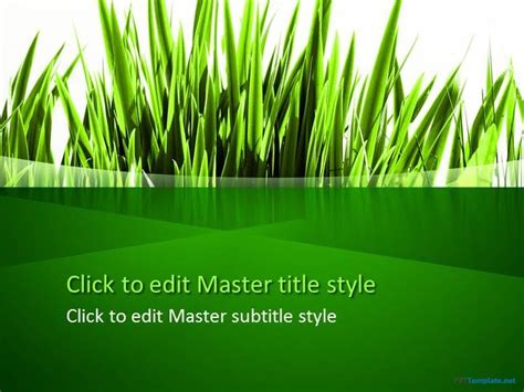 Free Green Grass PPT Template for presentations on