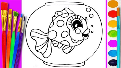 How to Draw Gold Fish Coloring Page Cute Fishes for Kids