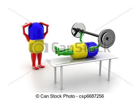Stock Illustration of pill - Two Healthy pill lifting