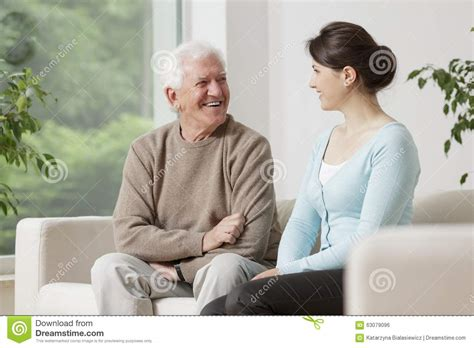 Old Man And Young Woman Stock Photo - Image: 63079096