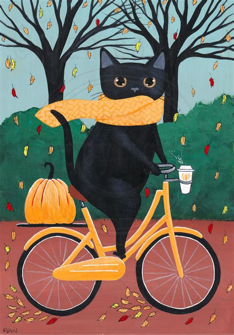 Fat Black Cat on a Bicycle With Coffee by KilkennyCat Art